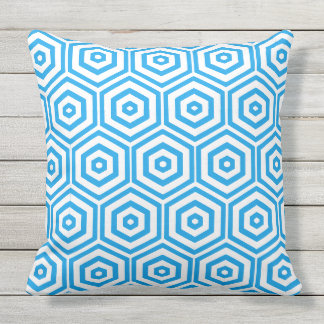 White and Blue Hexagon Pattern Throw Pillow