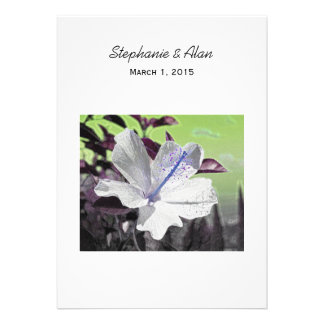White and Blue Hibiscus Wedding Invitation