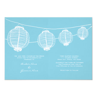 White and Blue Lanterns Wedding Invitation