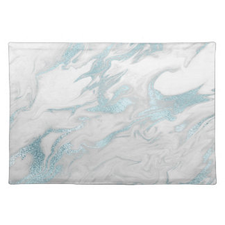 White and Blue Marbled Place Mat