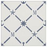 White and Blue Nautical Monogram Fabric