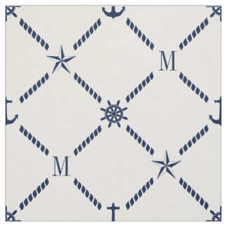 White and Blue Nautical Monogram Fabric