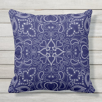 White and blue ornate pattern Throw Pillow
