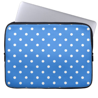 White and Blue Polka Dot Pattern Laptop Computer Sleeve