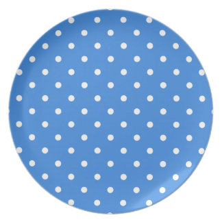 White and Blue Polka Dot Pattern. Party Plate