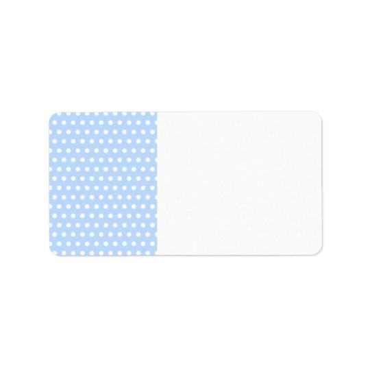 White and Blue Polka Dot Pattern. Spotty. Label