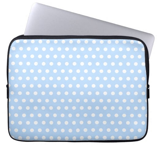 White and Blue Polka Dot Pattern. Spotty. Laptop Sleeves