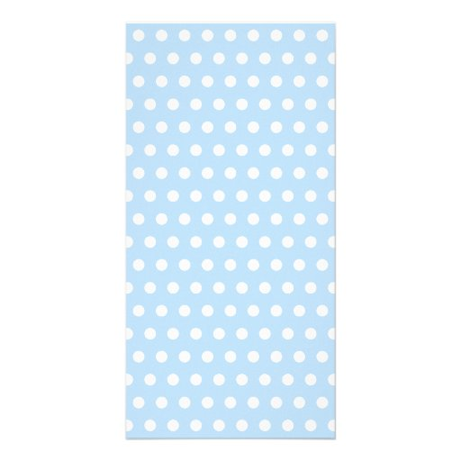 White and Blue Polka Dot Pattern. Spotty. Personalized Photo Card