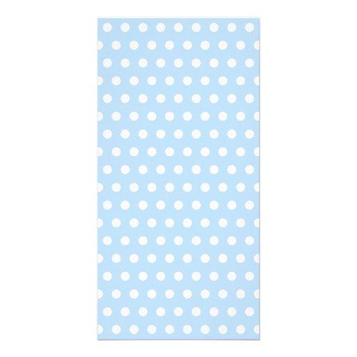 White and Blue Polka Dot Pattern. Spotty. Photo Cards