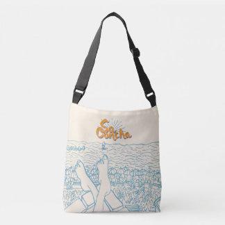 White and blue SaConcha Crossbody Bag