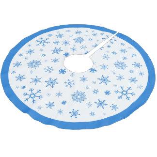 White and Blue Snowflake Christmas Tree Skirt Brushed Polyester Tree Skirt