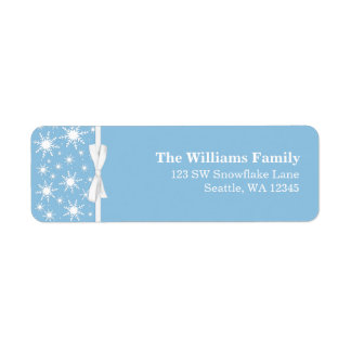 White and Blue Snowflakes Ribbon Christmas Address Return Address Label