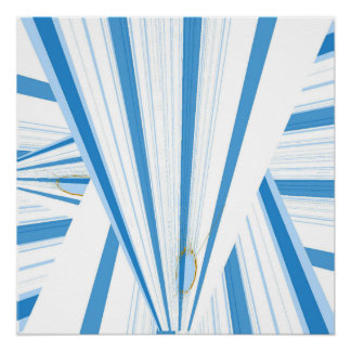 white and blue triangle poster