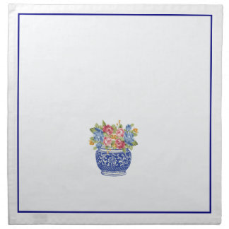 White and Blue Vase Dinner Napkins