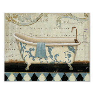 White and Blue Vintage Bath Tub Poster