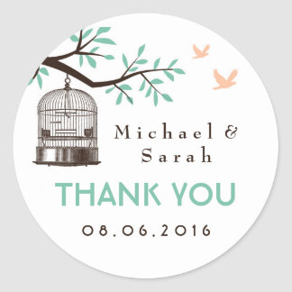 White and Blue Vintage Bird Cage Wedding Sticker