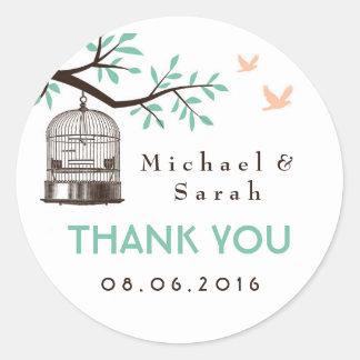 White and Blue Vintage Bird Cage Wedding Sticker