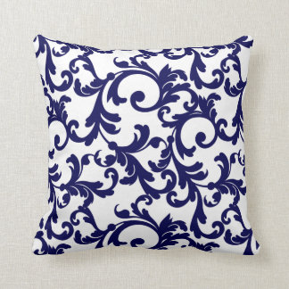 White and Blueberry Pie Elegant Damask Throw Pillow