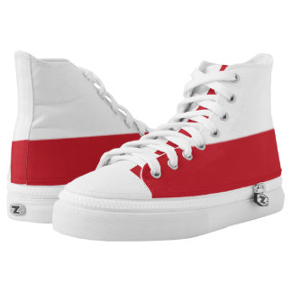 White and Brick Red Two-Tone Hi-Top