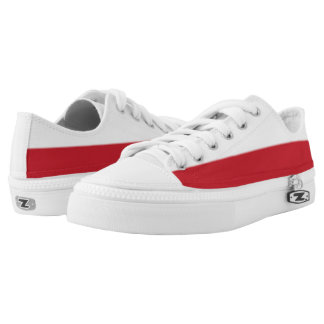 White and Brick Red Two-Tone Lo-Top Printed Shoes