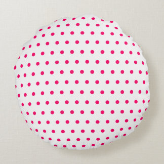 White and Bright Pink Polka Dots Round Cushion