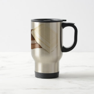 White and brown chocolate travel mug