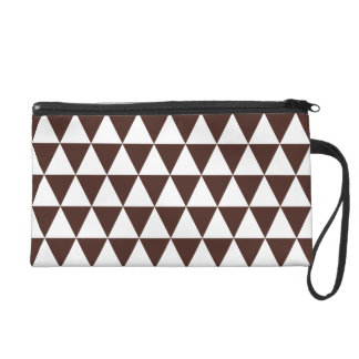 White and Brown Geometric Triangles Wristlet Purses