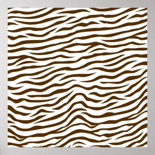 White and Brown Zebra Stripes Animal Print