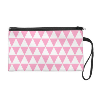 White and Carnation Pink Geometric Triangles Wristlet