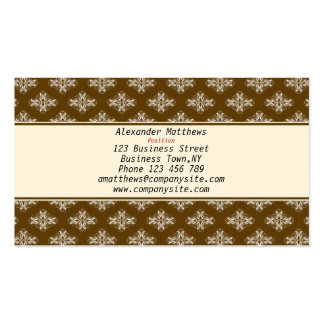 White and Chocolate Damask Business Card Template