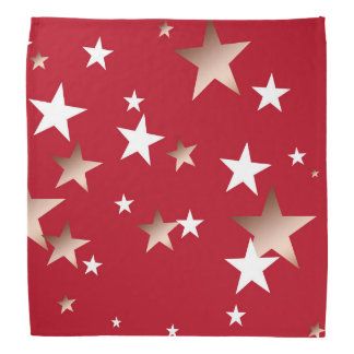 White and Copper Stars Design on Red Bandana