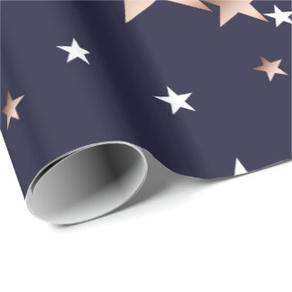 White and Copper Stars on Navy Wrapping Paper