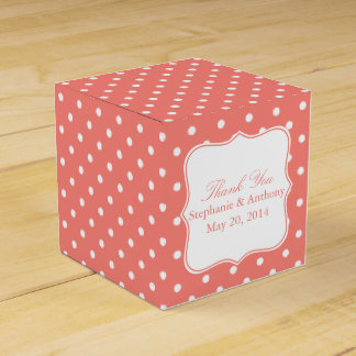 White and Coral Pink Polka Dot Thank You Favour Box