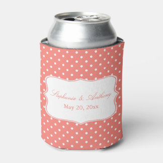 White and Coral Pink Polka Dot Wedding Can Cooler