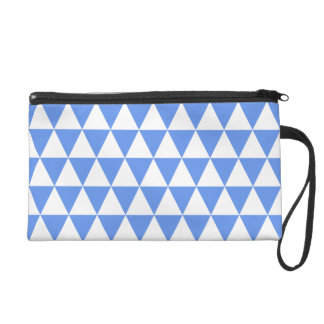 White and Cornflower Blue Geometric Triangles Wristlet