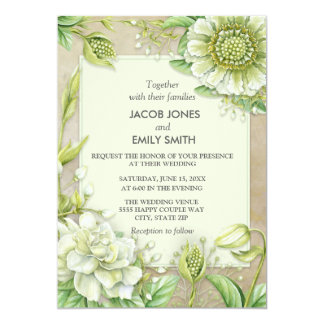 White and Cream Floral and Greenery Brown Wedding Card