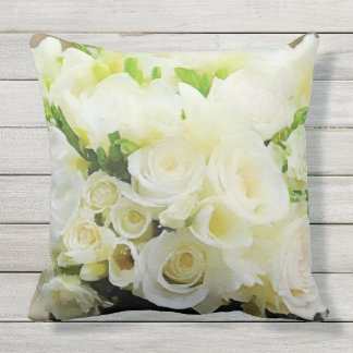 White and Cream Roses Floral Outdoor Cushion
