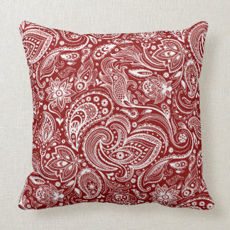 White And Crimson Red Vintage Floral Paisley Cushion