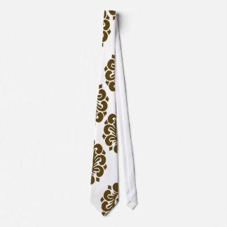 white and dark brown elegant ornamental damask neck wear