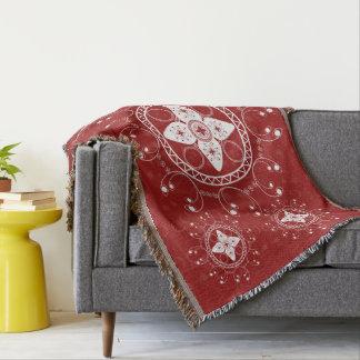 White And Dark Red Celtic Inspired Throw Blanket