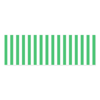 White and Emerald Vertical Stripes Double-Sided Mini Business Cards (Pack Of 20)
