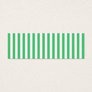 White and Emerald Vertical Stripes Mini Business Card