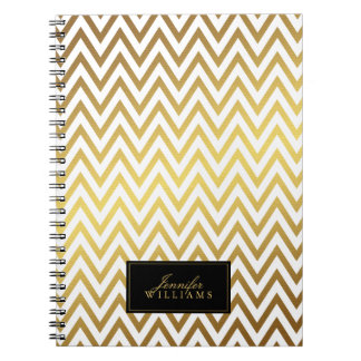 White and Faux Gold Chevron Stripes Personalized Notebooks
