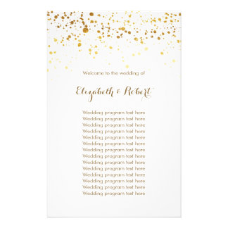White and Faux Gold Glitter 14 Cm X 21.5 Cm Flyer