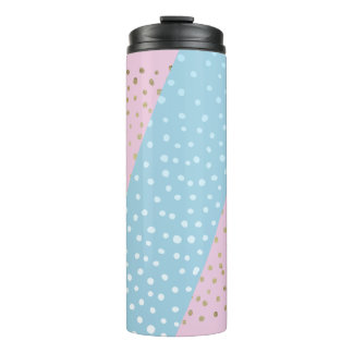 White and Gold Bronze Dot Pattern Thermal Tumbler