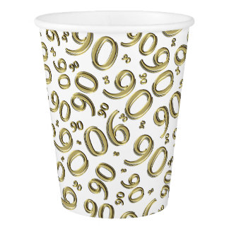 White and Gold Collage 90th Birthday Party Theme Paper Cup