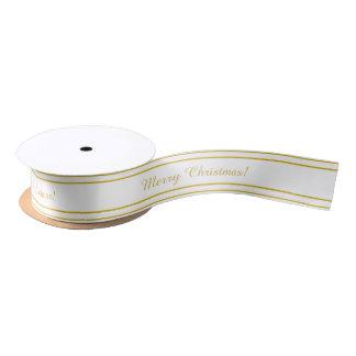 White and gold colour ribbon satin ribbon