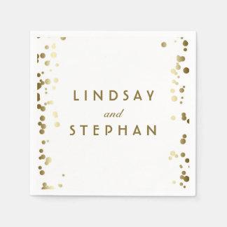 White and Gold Confetti Dots Wedding Disposable Napkin
