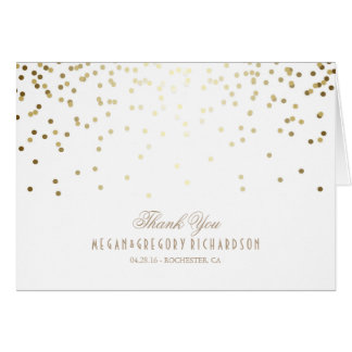 White and Gold Confetti Wedding Thank You Note Card