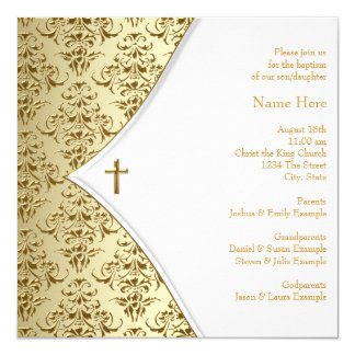 White and Gold Cross Christening 13 Cm X 13 Cm Square Invitation Card